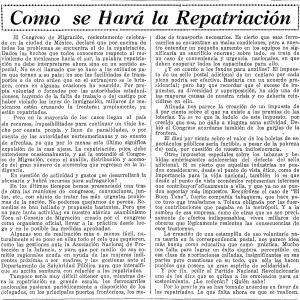 Como se Hara la Repatriacion - 2.16.1931