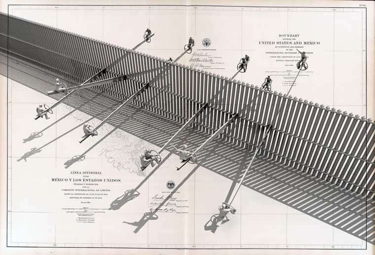 Drawing of Teeter Totter wall on drawing of Boundary between the United States and Mexico by the International Boundary Survey under the Convention of July 29th 1882 Ronald Rael 2009 This teeter totter is inserted onto the middle bar of the existing border wall. It allows its riders to see over the fence, connecting through leisure populations normally separated by the boundary. The plan is impractical, yet playful, ridiculing the border's violent division of communities.