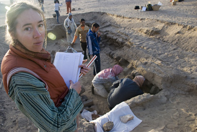 Supervisor Gaea McGahee overseeing excavations in the southwest vault of the Ptolemaic tomb.