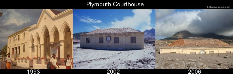 These images of the former Courthouse in Plymouth are but one example of the scale of devastation that the volcanic eruptions caused to the southern third of the island
