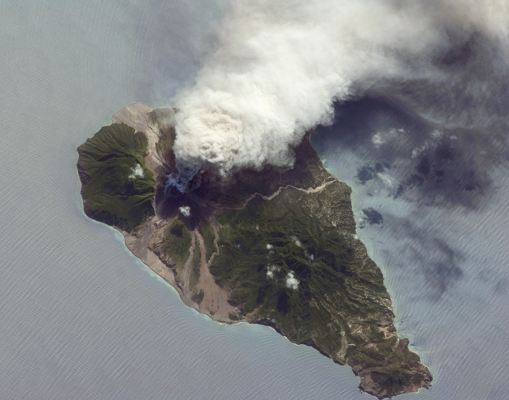 NASA satelite photo of a recent volcanic event on 11 October 2009, during which a plume of ash reached 20,000ft into the sky. The SLAM survey area covers the right side of this image