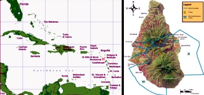 Montserrat's location in the Lesser Antilles, and a map of the island showing the exclusion zones to the south