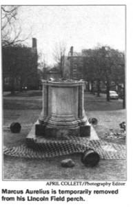 The base of Marcus Aurelius statue, under repair (Brown Daily Herald, 8 March, 1991)