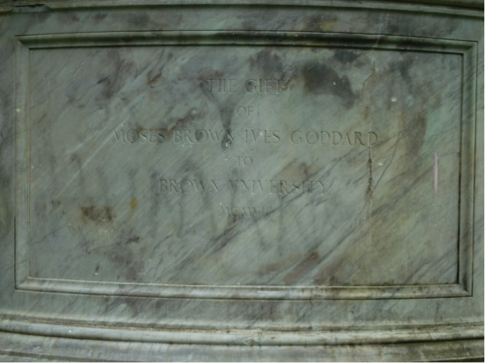Graffito on the base of the statue of Marcus Aurelius encouraging us to 'Stay Human' (Photo by Catherine Teitz)