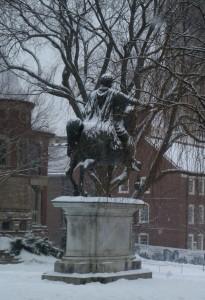 Marcus Aurelius statue in the snow (Photo by Catherine Teitz)