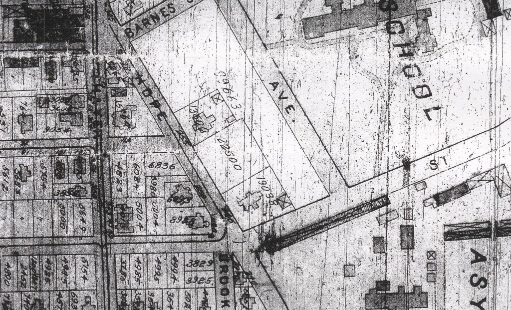 A close-up of the Sacks Property at the corner of Hope St. and Lloyd Ave, with the Moses Brown School property to the northeast