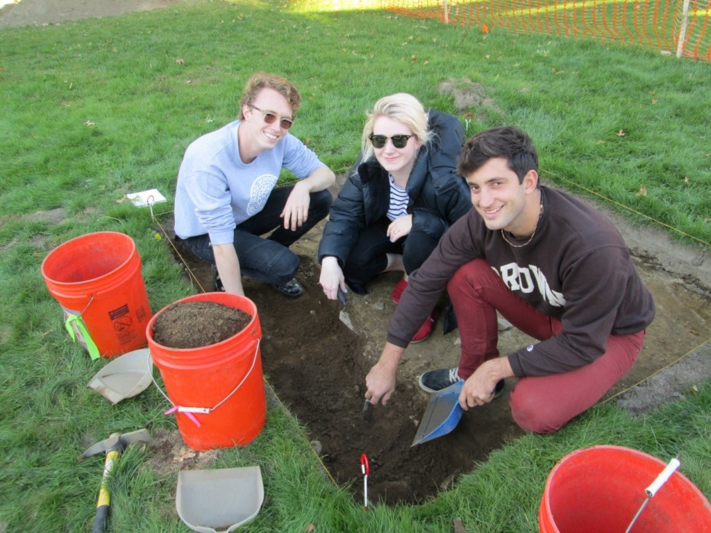 L to R: Axel, Maggie, and Lucas getting to work in Trench 1
