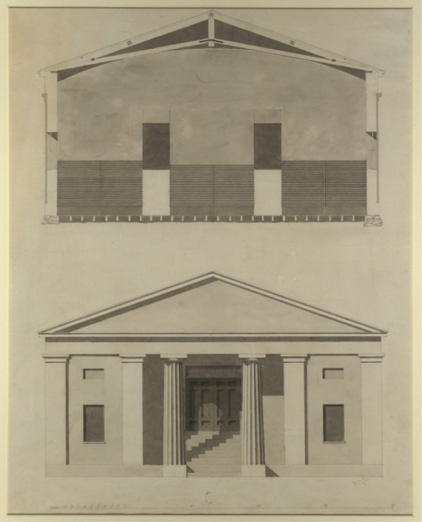 Figure 1 William Strickland, Providence Athenaeum, front elevation with first floor, upper floor and basement floor plans, 1836, 49.6 x 35.6 cm, Brown Digital Repository, accessed October 12, 2016, https://repository.library.brown.edu/studio/item/bdr:703764/