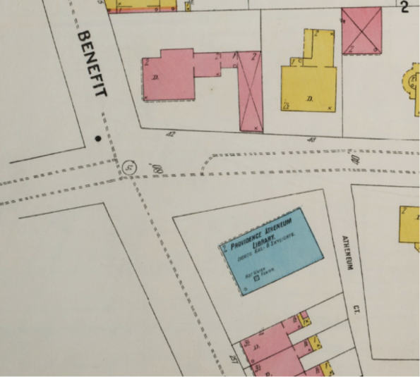 Figure 3 Insurance Maps of Providence, Rhode Island V. 2, 1899, 64 x 55 cm, Sanborn-Perris Map Co, Brown Digital Repository, accessed October 12, 2016, https://repository.library.brown.edu/studio/item/bdr:213294/