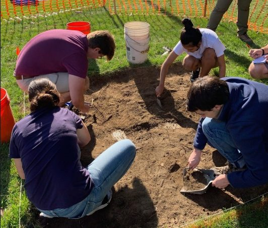 Students excavating at Moses Brown