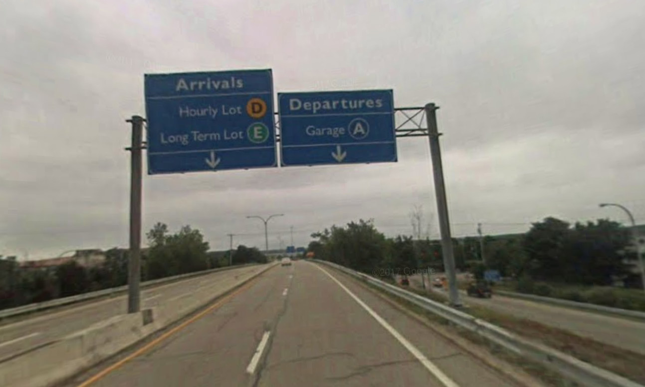Arrivals and Departures road signs at T.F. Green airport.