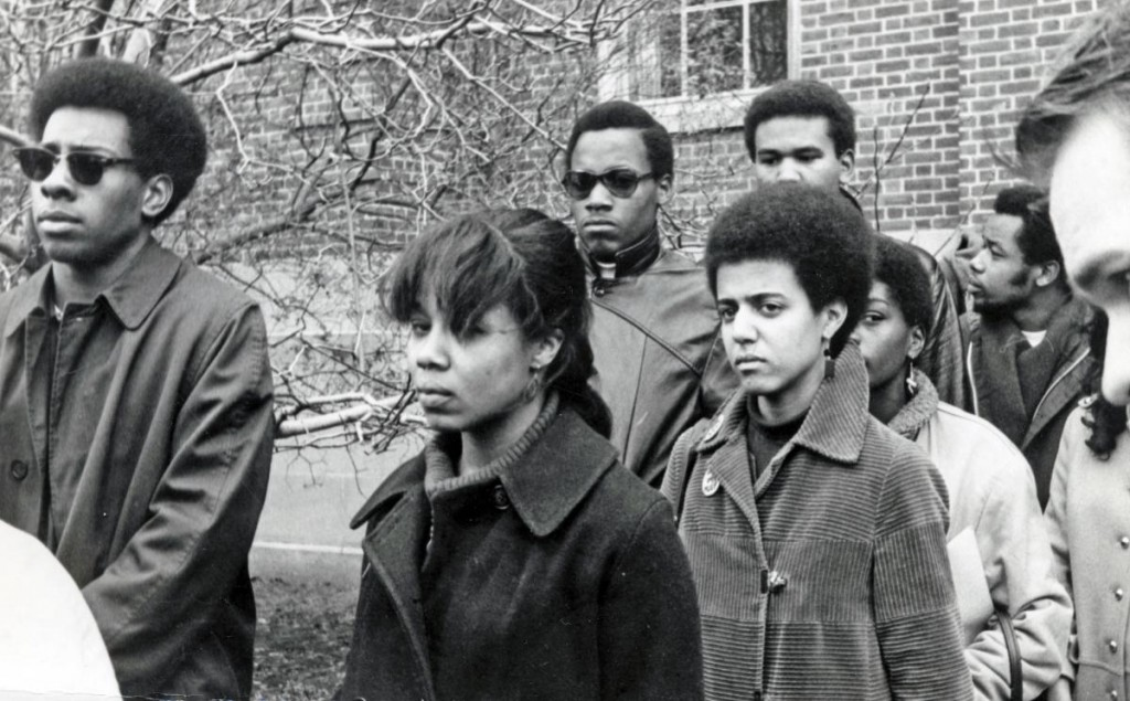 The Black men of the Afro-American Society at Brown University and Black women of Pembroke College walk out December 5th, 1968.