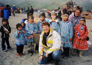 Alexander Dolitsky with Chukchi community members at the village of Lorino, Chukotka, 2008.