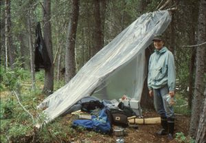 Field camp at the Tautittinna site, an early historic miner's cabin on the Kobuk River, Alaska, 1993.