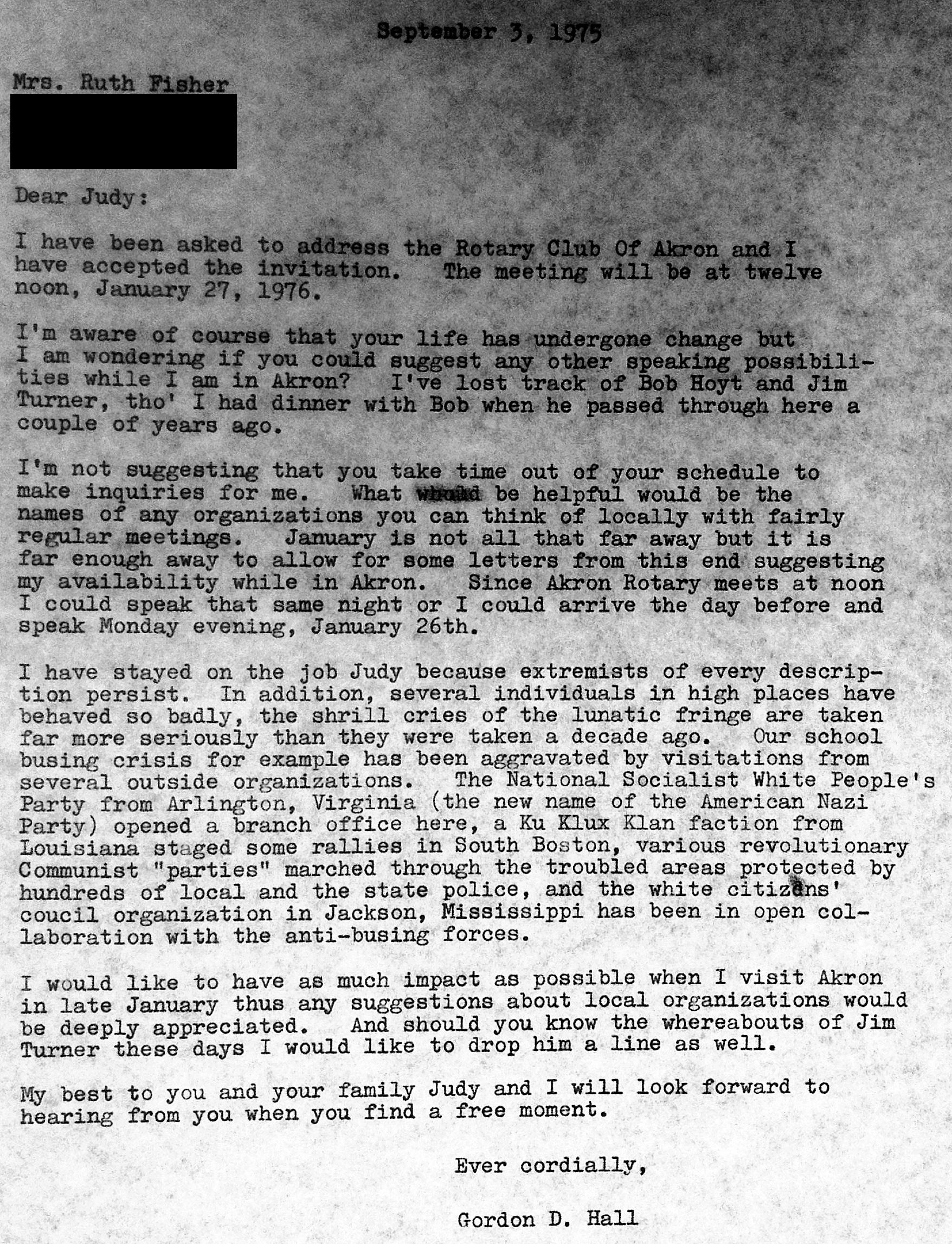 Gordon Hall Letter September 1975