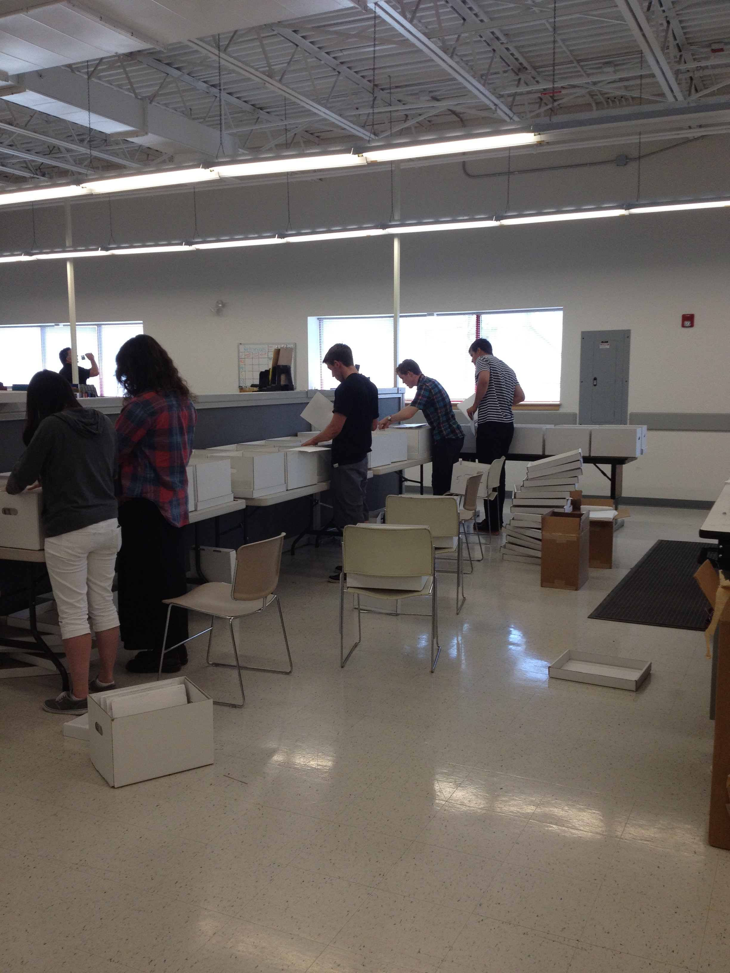 Students Filing the Material Into Alpha Boxes