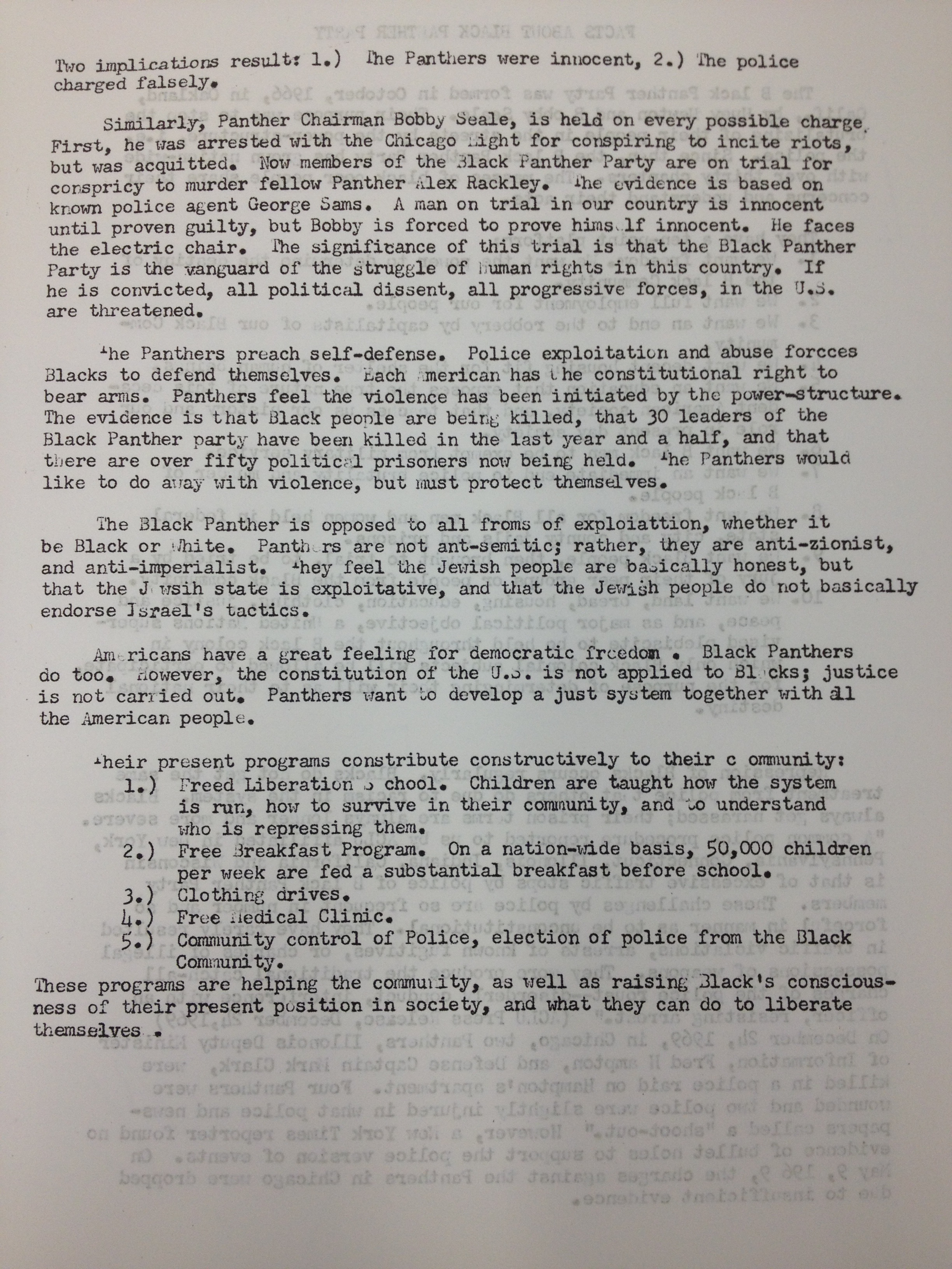 Facts About The Black Panthers (Unknown Source, Possibly Gordon Hall)