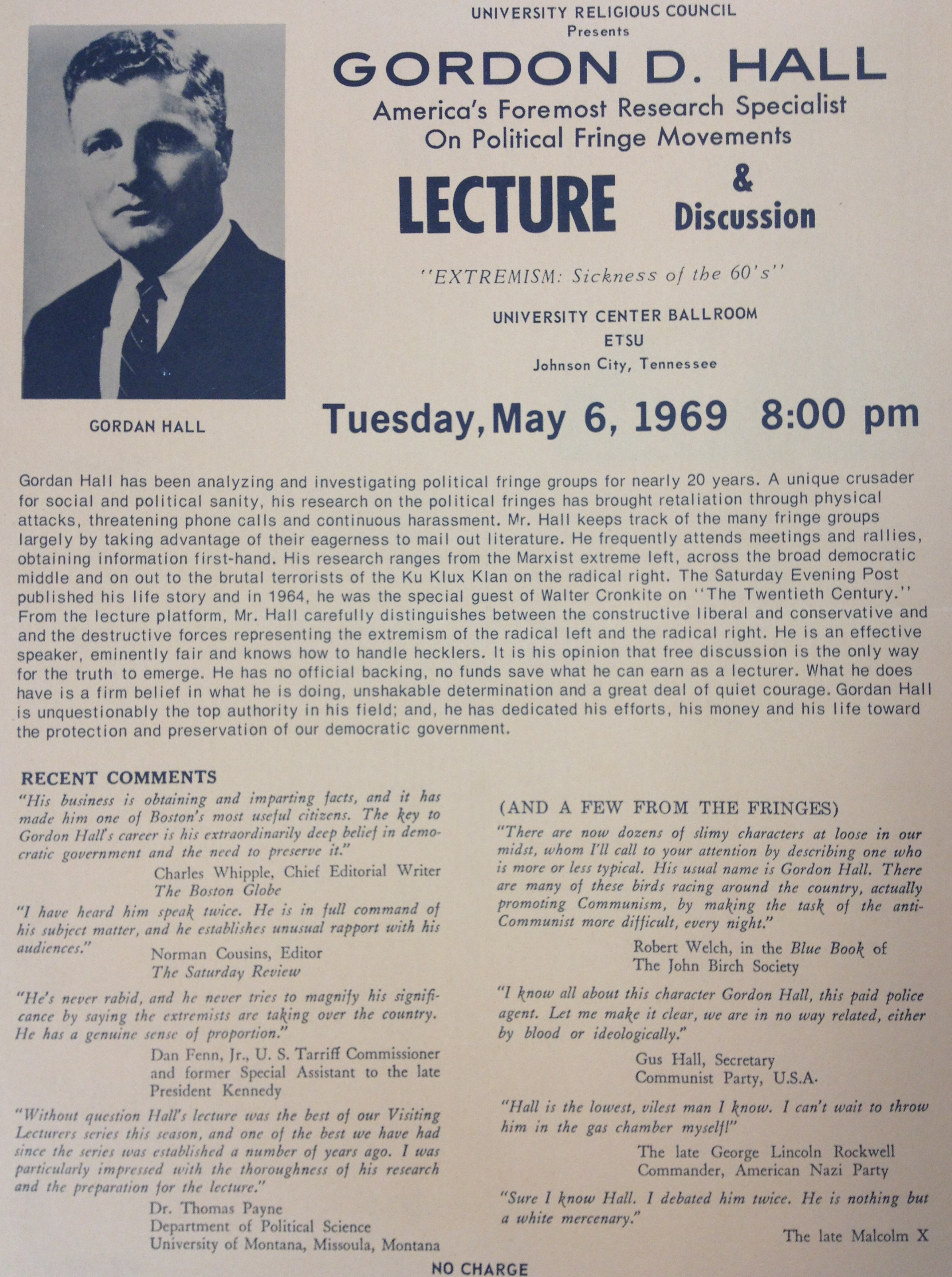 Gordon Hall Lecture Flyer
