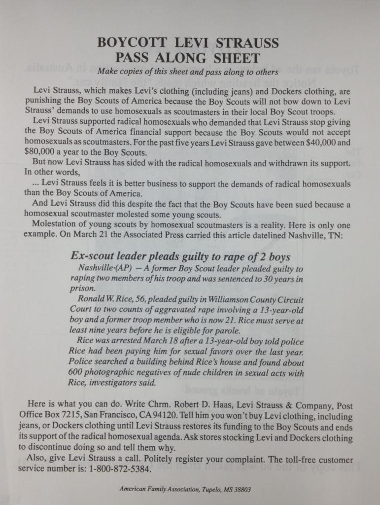 Levi's Boycott (American Family Association 1992)
