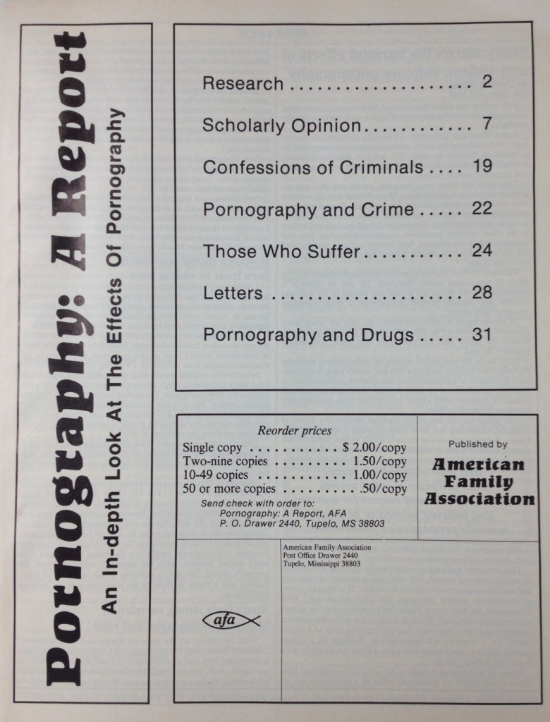 Pornography: A Report (American Family Association 1992)