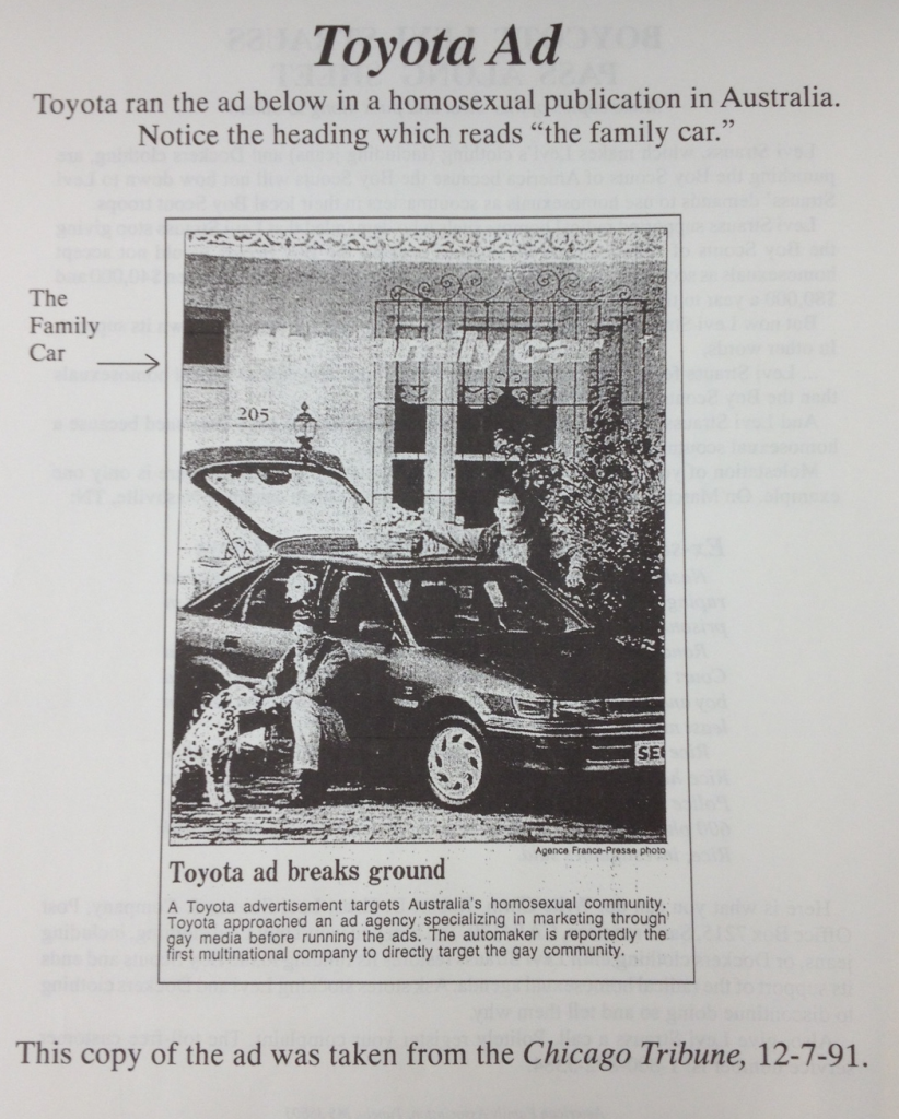 Toyota Boycott (American Family Association 1992)