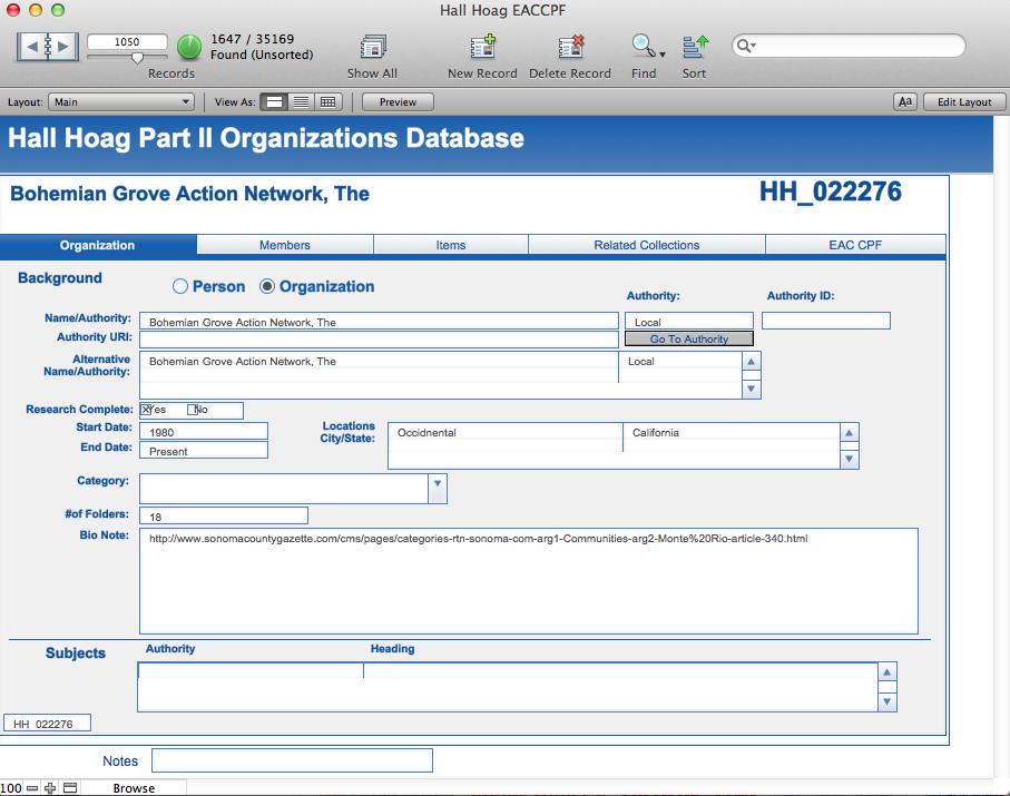 Hall Hoag Database