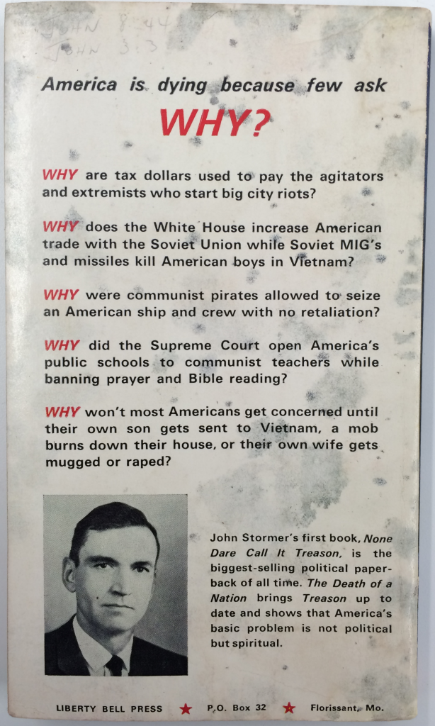 The Death of a Nation Back Cover (1968)