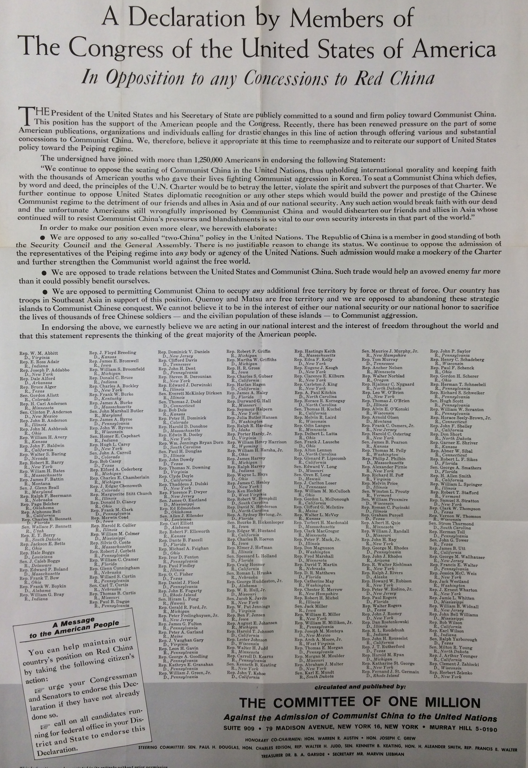 Committee of One Million Declaration (Undated)