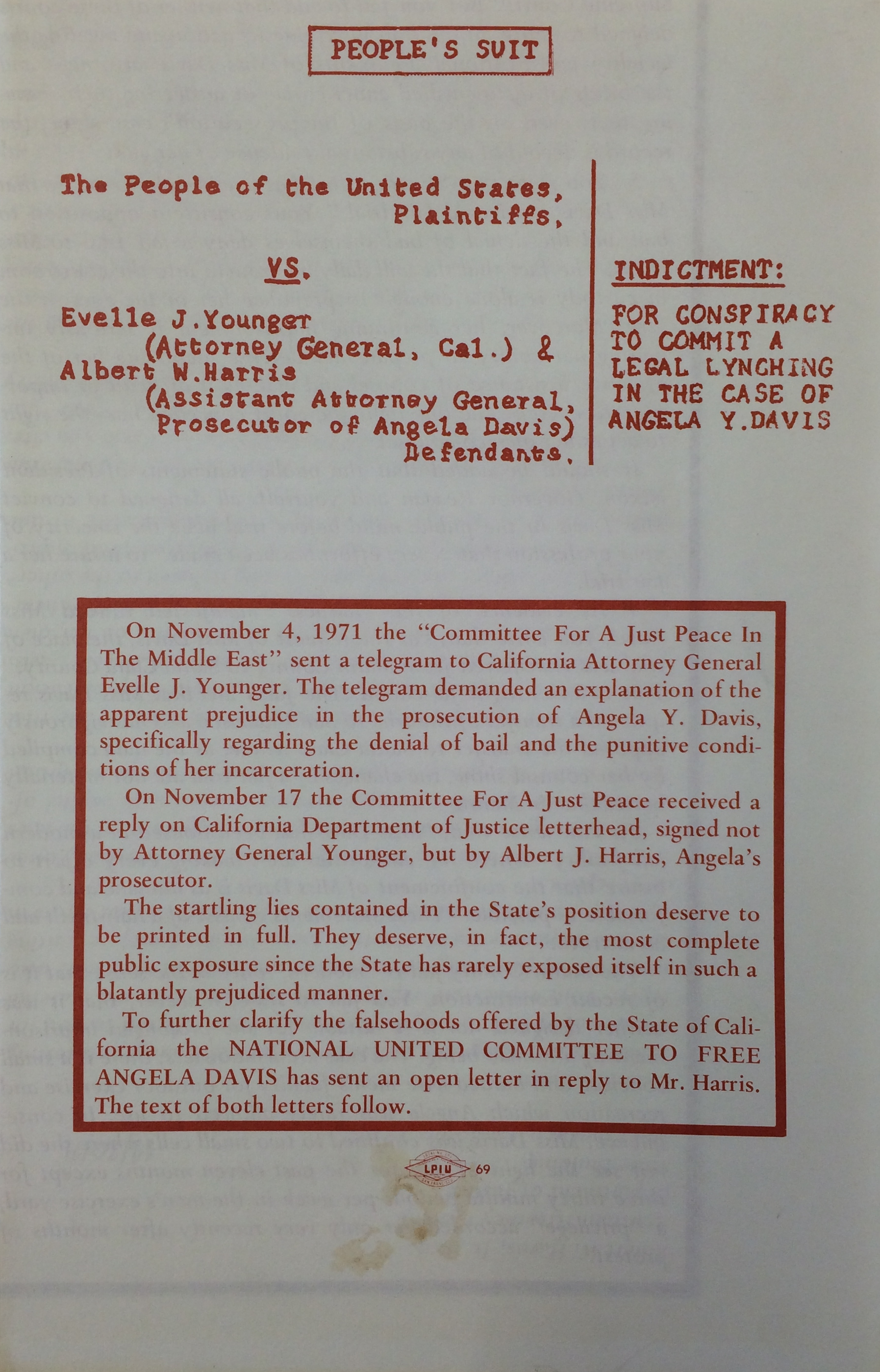 National United Committee to Free Angela Davis Cover (1971)