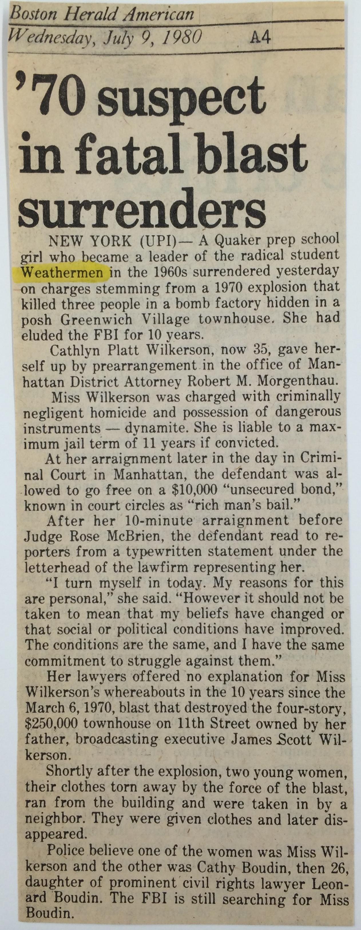 Weathermen Clipping (Boston Herald 1980)