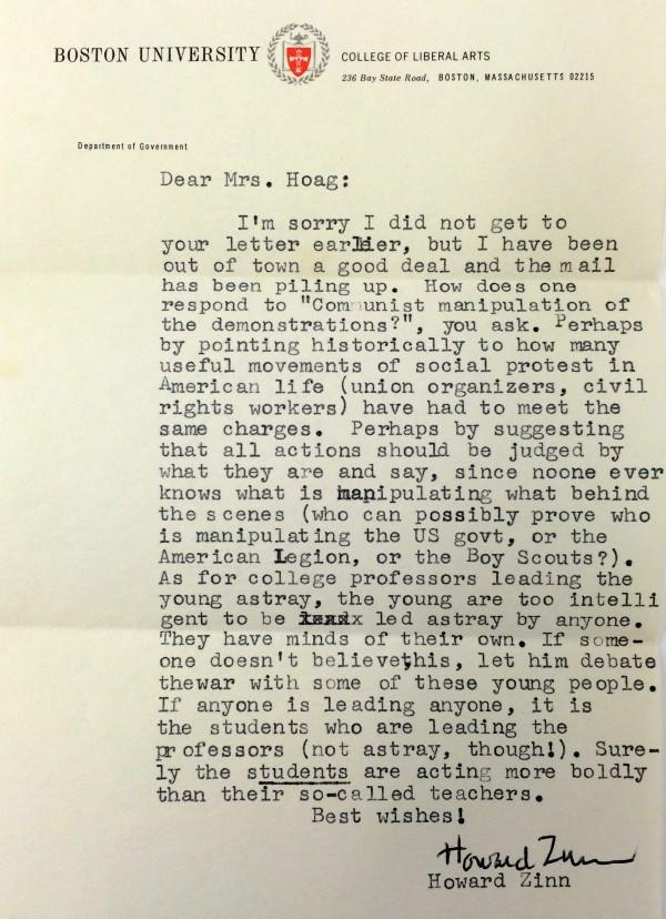 Howard Zinn Letter 1968