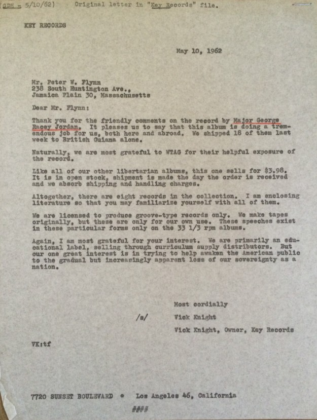 Vick Knight Letter (1962)