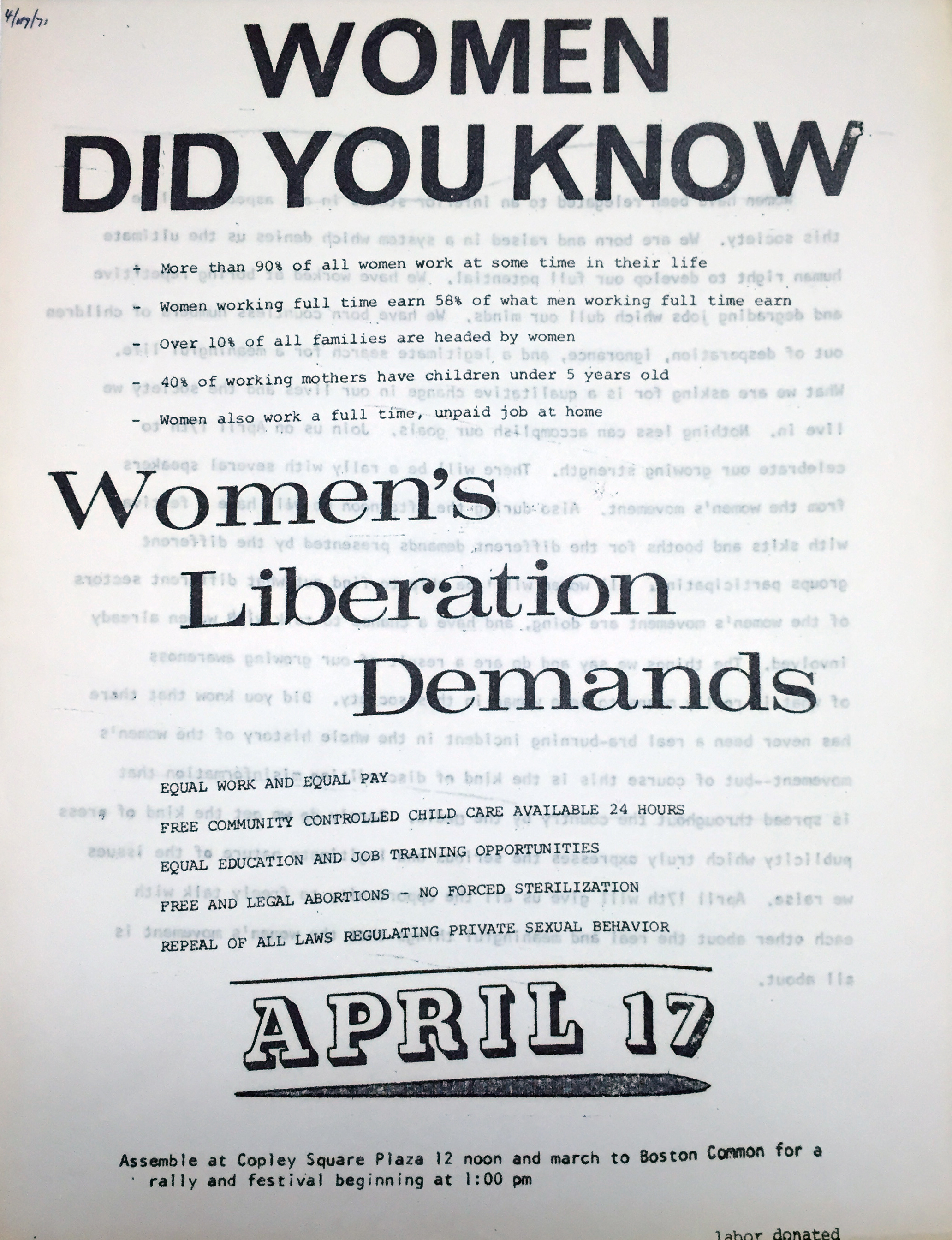 Women's Liberation Flyer (1971)