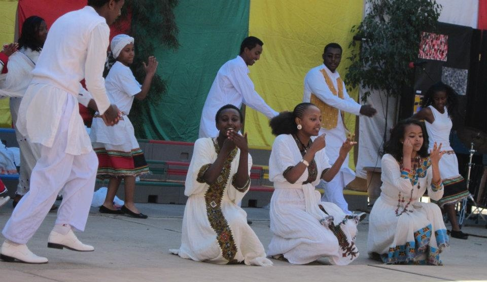Building new images: The author (far right) at an Ethiopian Cultural Dance at her  high school.
