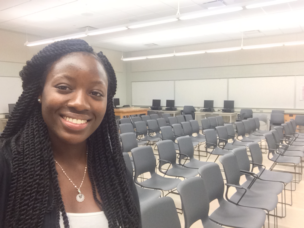 Hawa in the Medford High School Science Hall before an SCP event. September 2015.