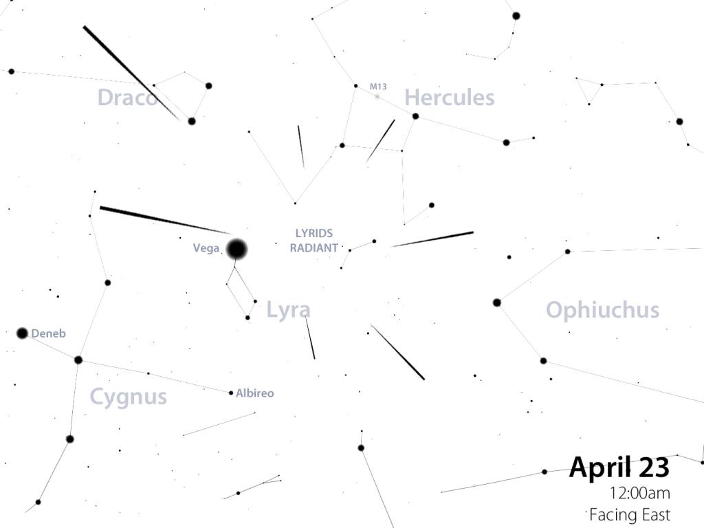 April Lyrids star map