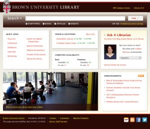 Mock-up of new library home page