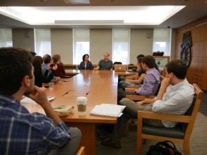 The group meets with Professor James N. Green in Washington, D.C. at the National Archives to speak with Janaina Telles, whose parents were political activists and were tortured during the military dictatorship, and Peter Kornbluh, Director of the National Security Archive's Chile documentation project and Cuba documentation project.