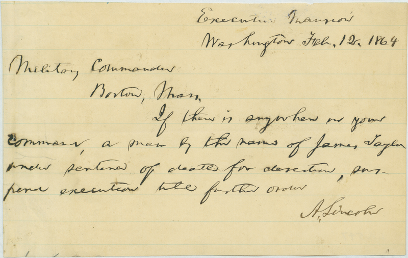 Abraham Lincoln to Stephen Cabot
