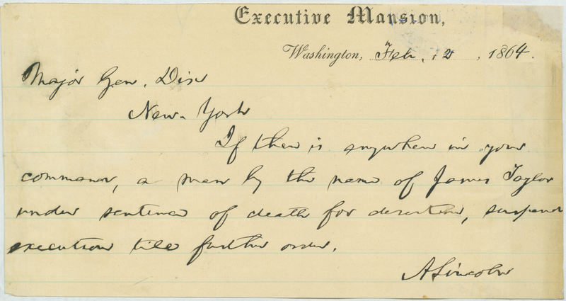 Abraham Lincoln to John A. Dix