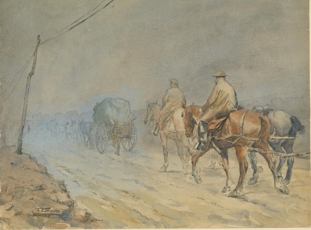 On the Road to Sedan, Frank Elim, November 1915, watercolor on paper