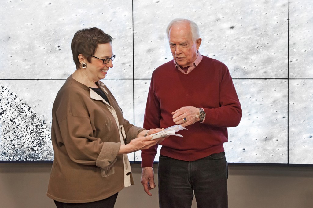 University Librarian Harriette Hemmasi and NASA Astronaut David Scott