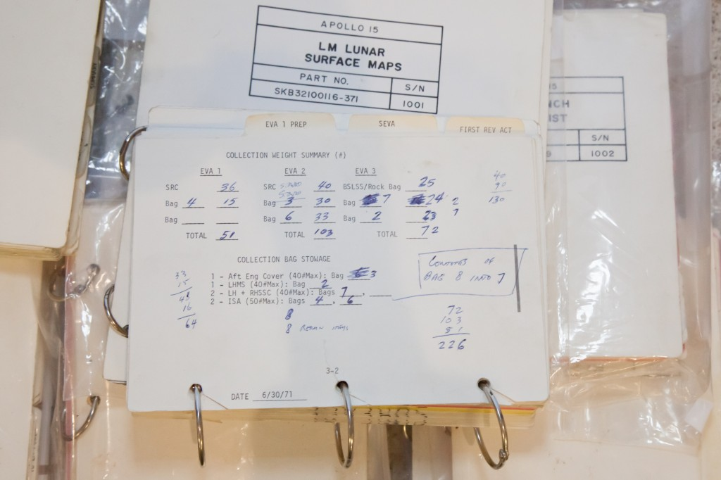 Logbook of lunar surface collections