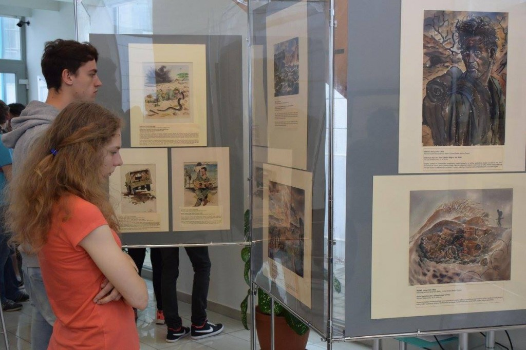 High school students in Kosice, Slovakia view the exhibit.