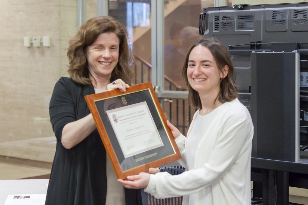 Beatrice Senocak '15 receives the 2015 Undergraduate Prize for Excellence in Library Research