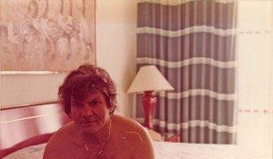 Gregory Corso in a hotel room, circa 1983