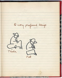 "A page in Notebook No.8 in the Corso papers.  The text reads: ""2 very profound beings. Thinker. Poet."""
