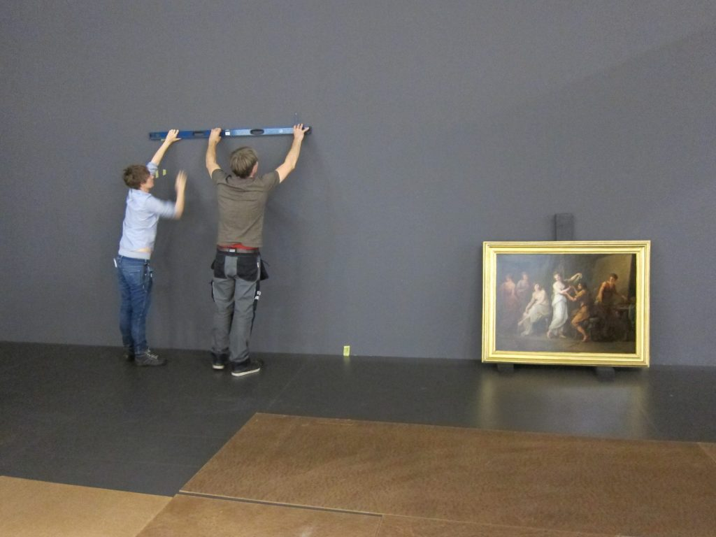 Installation of the Kauffmann painted at the Centre Pompidou