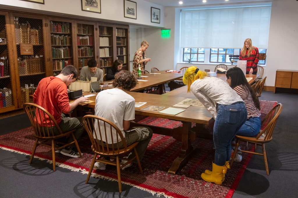 students viewing special collections