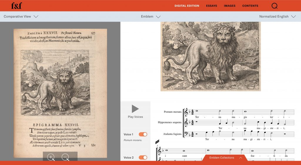 screenshot from Furnace and Fugue featuring an emblem of a lion, sheet music, and option to play musical recording